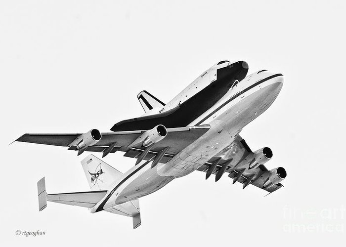 Enterprise Shuttle Greeting Card featuring the photograph Enterprise Shuttle Ny Flyover by Regina Geoghan