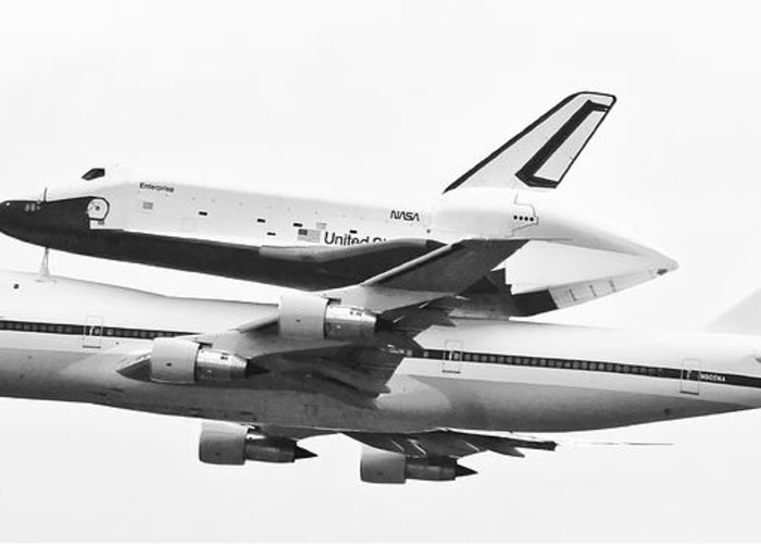 Enterprise Shuttle Greeting Card featuring the photograph Enterprise Shuttle Nyc -black And White by Regina Geoghan