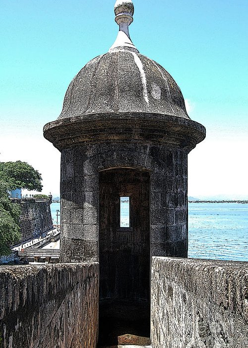 Travelpixpro Puerto Rico Greeting Card featuring the digital art Entrance To Sentry Tower Castillo San Felipe Del Morro Fortress San Juan Puerto Rico Poster Edges by Shawn O'Brien