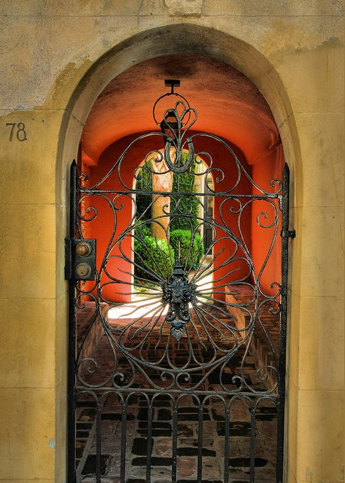 Gate Greeting Card featuring the photograph Entrance To Stucco Home by Steven Ainsworth