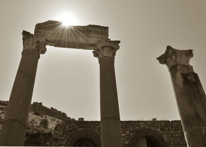 Sepia Greeting Card featuring the photograph Ephesus 2011 Ad by Terence Davis