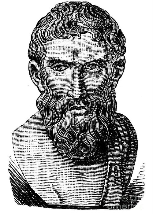 3rd Century B.c Greeting Card featuring the photograph Epicurus (343?-270 B.c.) by Granger