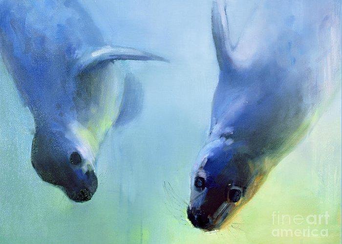 Animal; Animals; Seal; Seals; Aquatic Mammal; Mammals; Swimming; Paddling; Diving; Playing; Playful; Marine; Underwater; Sea; Seals Greeting Card featuring the painting Equally Fascinating by Mark Adlington
