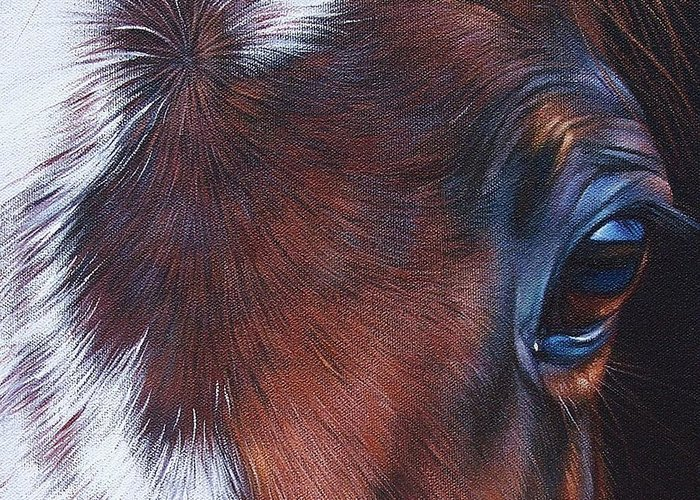 Horse Greeting Card featuring the painting Equine 1 by Elena Kolotusha