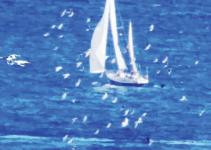 Sailing Greeting Card featuring the digital art Escorted By Seagulls by Alfie Borg
