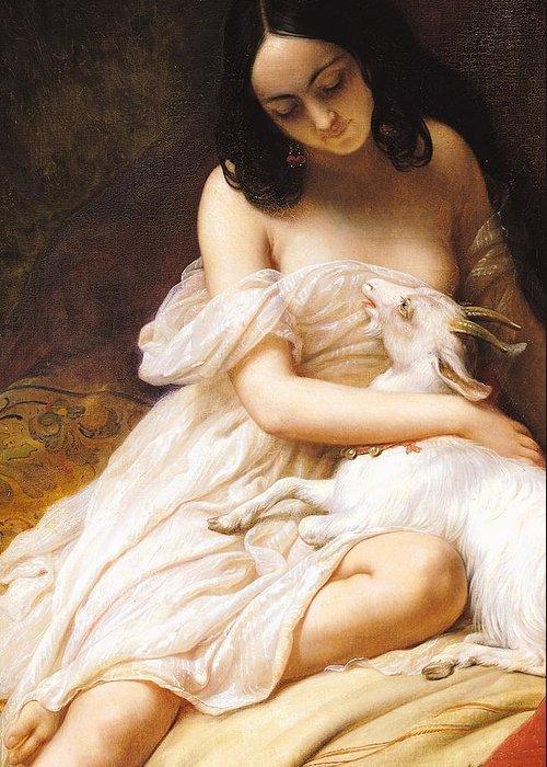 Esmeralda Greeting Card featuring the painting Esmeralda by Charles Auguste Steuben