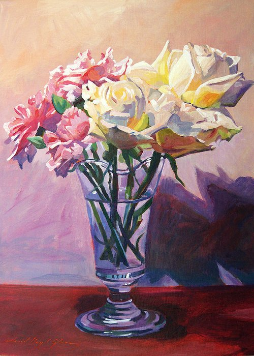 Still Life Greeting Card featuring the painting Essence Of Rose by David Lloyd Glover