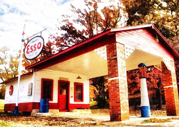 Esso Greeting Card featuring the painting Esso Filling Station by Lynne Jenkins