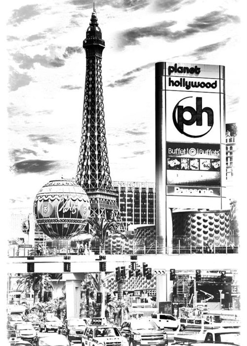 America Greeting Card featuring the photograph Etched Vegas by Ricky Barnard