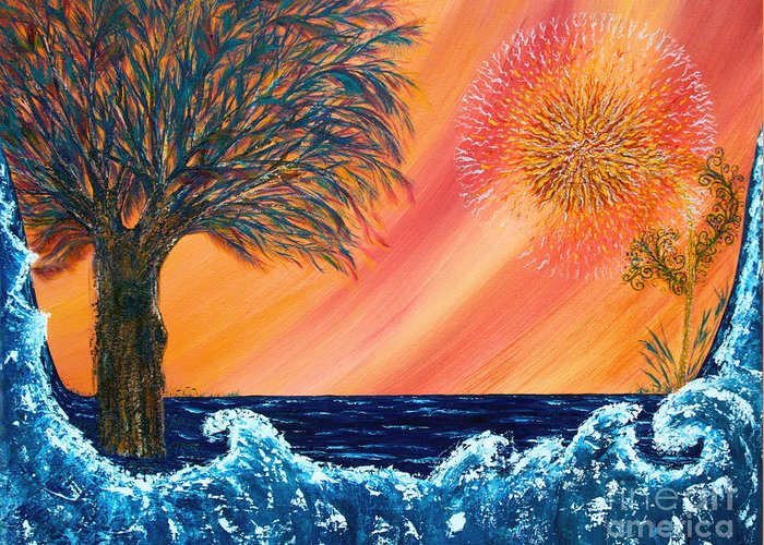 Sky Greeting Card featuring the painting Europa Tsunami by Pm Ernst