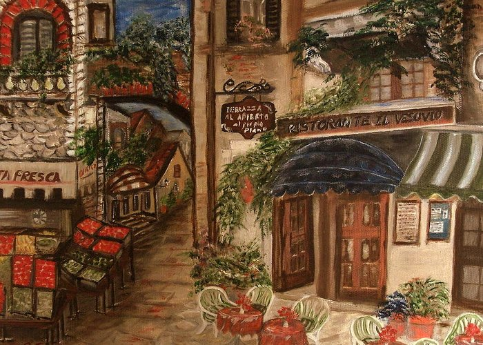 Landscape Greeting Card featuring the painting European Village by Kenneth LePoidevin