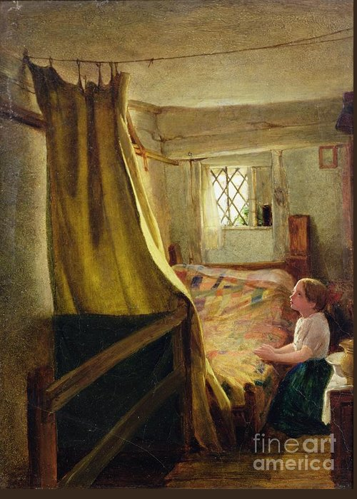 Evening Greeting Card featuring the painting Evening Prayer by John Bagnold Burgess