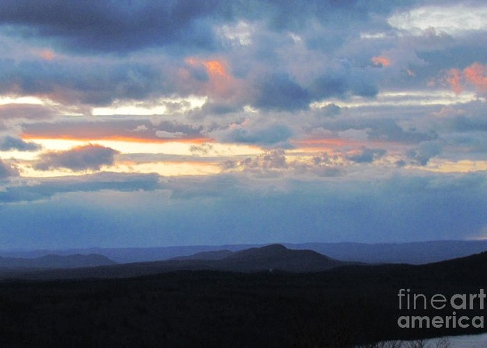 Sunset Greeting Card featuring the photograph Evening Sky Over The Quabbin by Randi Shenkman