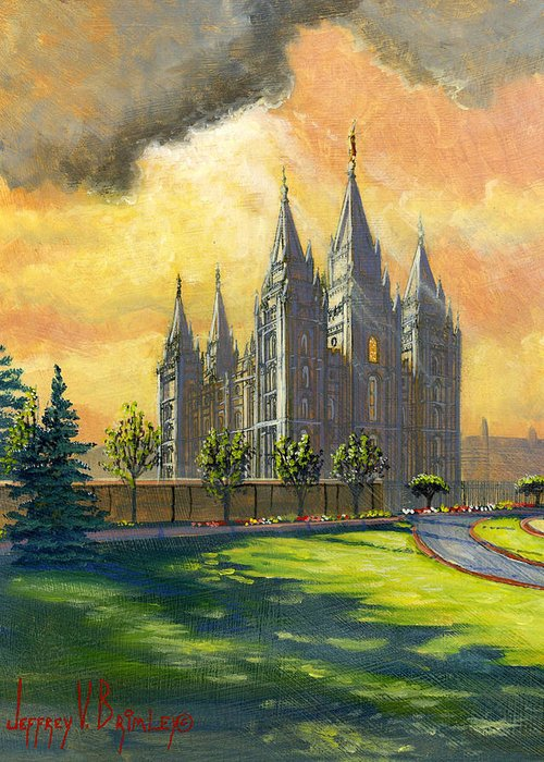 Salt Lake Temple Greeting Card featuring the painting Evening Splendor by Jeff Brimley
