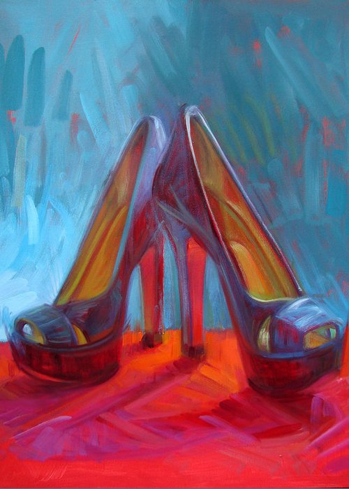 Shoe Paintings Paintings Greeting Card featuring the painting Ever Eloquent by Penelope Moore