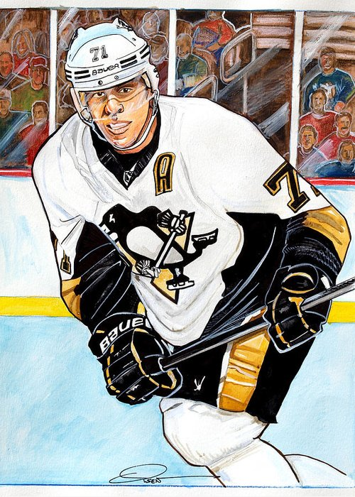 Evgeni Malkin Greeting Card featuring the painting Evgeni Malkin by Dave Olsen