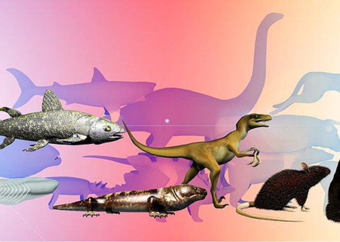 Dinosaur Greeting Card featuring the photograph Evolution Of Man by Christian Darkin