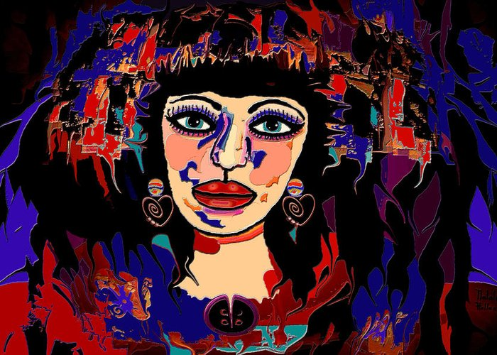 Woman Greeting Card featuring the mixed media Exotic Woman by Natalie Holland