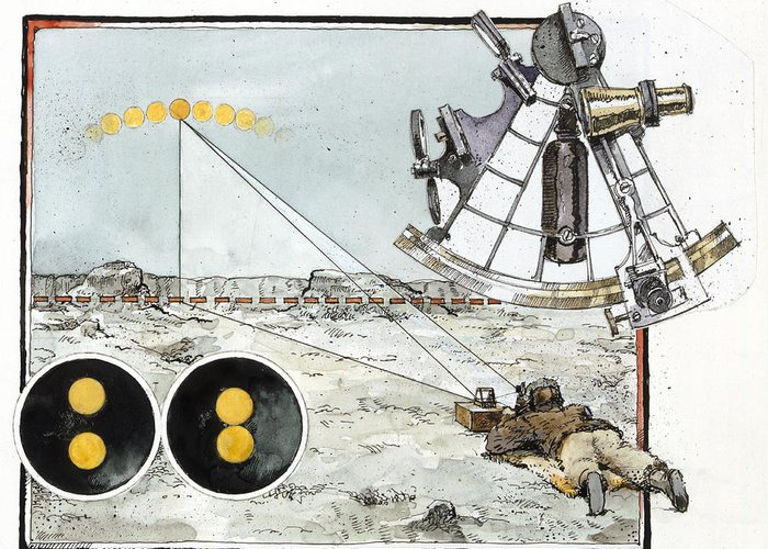 Illustration Greeting Card featuring the photograph Explorer Robert E. Peary Uses The Sun by Richard Schlecht
