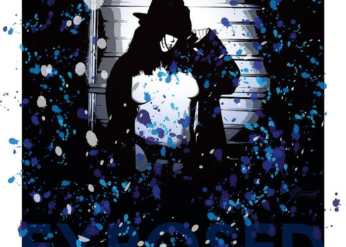 Exposed Greeting Card featuring the digital art Exposed In Blue by Dana Bennett