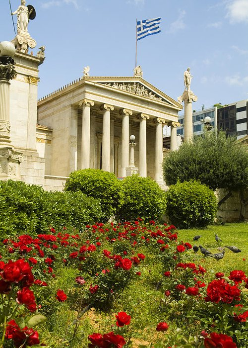 Europe Greeting Card featuring the photograph Exterior Of The Athens Academy, Greece by Richard Nowitz