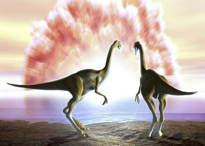Animal Greeting Card featuring the photograph Extinction Of The Dinosaurs, Artwork by Jose Antonio PeÑas