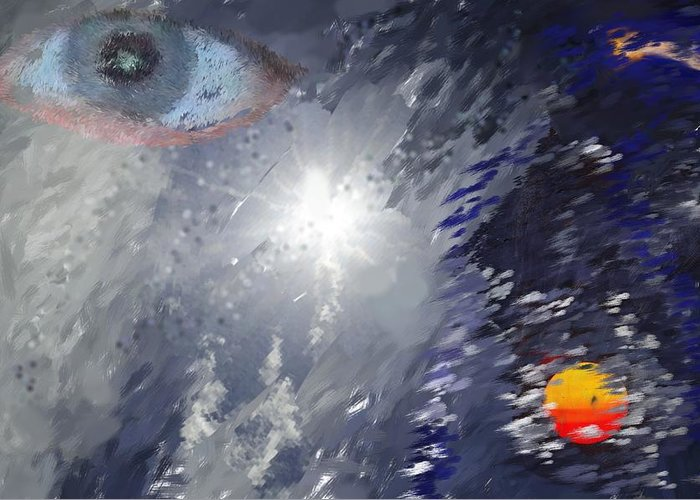 Abstract Greeting Card featuring the digital art Eye In The Sky by Mark Stidham