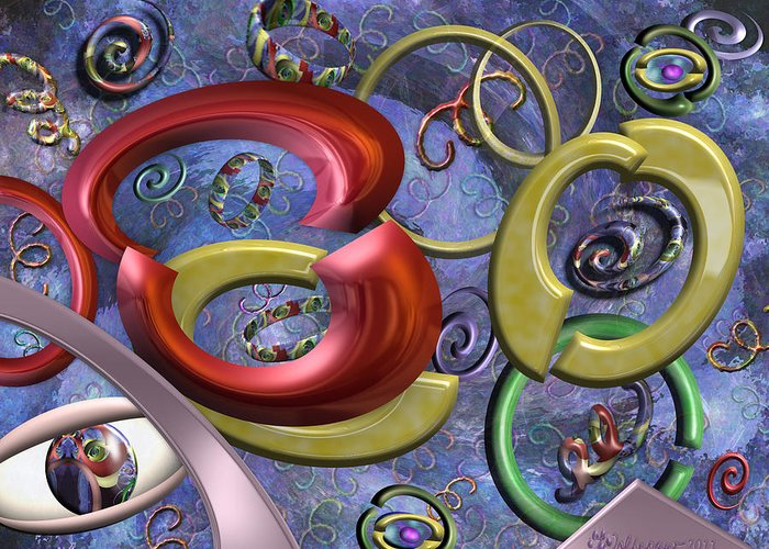 Abstract Greeting Card featuring the digital art Eye Of The Beholder by Peggi Wolfe