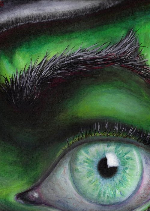 Green Eye Witch Wizard Oz Elphaba West Wicked Evil Eyebrow Greeting Card featuring the painting Eye of the Beholder by Rust Dill