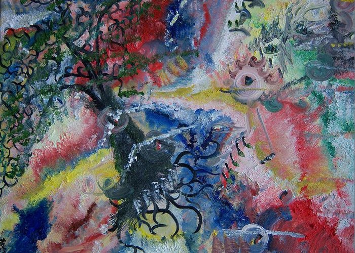 Abstract Greeting Card featuring the painting Eye Of The Storm by Fawn Whelahan
