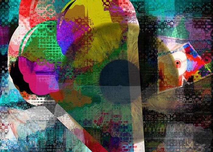 Fania Simon Greeting Card featuring the mixed media Eye Tracking by Fania Simon