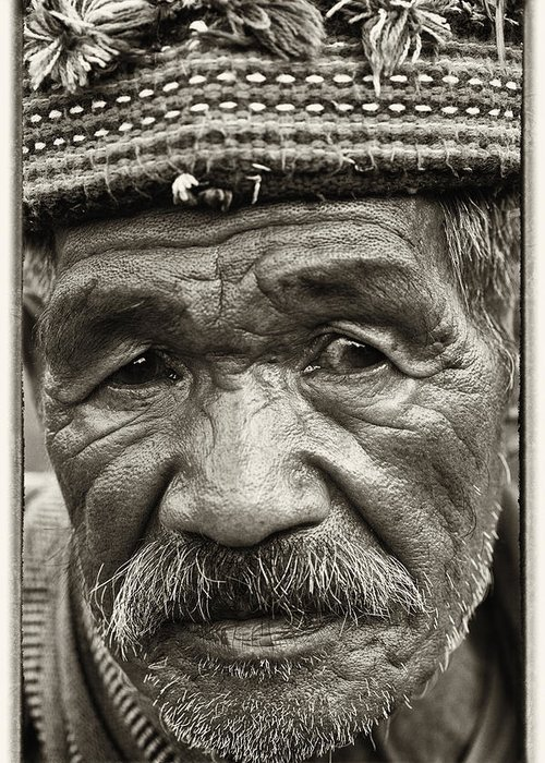 80-90 Yrs; Aborigine; Age; Aging; Art; Asia; Asian; Awe; Banaue; Close-up; Contemplation; Decor; Decoration; Detail; Fine Art; Glisten; Ifugao; Ifugao Province; Indian; Inspirational; Journey; Life; Loneliness; Male; Man; Memory; Milestone; Native; Old; One; Philippines; Photographic; Photography; Portrait; Reflection; Reverence; Spirituality; Toned; Toned Black And White; Tranquility; Travel Destinations; Tribal; Vertical; Weathered; World Heritage Sight; Worn; Wrinkled; Zen Greeting Card featuring the photograph Eyes Of Soul by Skip Nall