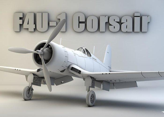 F4u Corsair Greeting Card featuring the digital art F4u-1 Corsair by Dale Jackson
