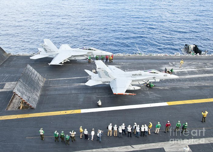 F-18 Super Hornet Greeting Card featuring the photograph Fa-18 Aircraft Prepare To Take by Stocktrek Images