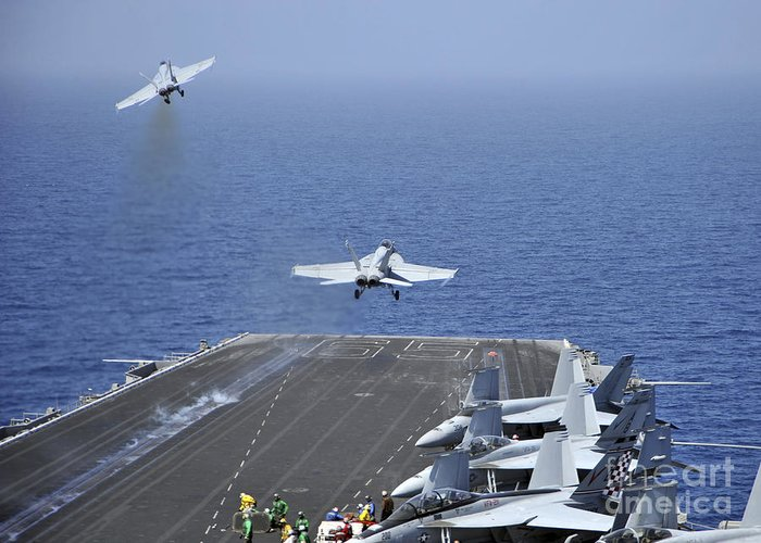 Uss Enterprise Greeting Card featuring the photograph Fa-18f Super Hornets Launch by Stocktrek Images