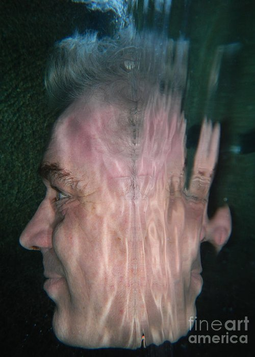 Man Greeting Card featuring the photograph Face Reflected Underwater by Mats Silvan