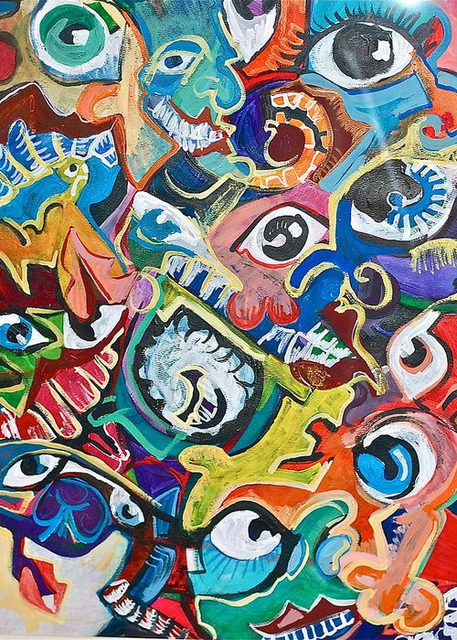 Eye Greeting Card featuring the painting Faces In A Crowd by Jame Hayes