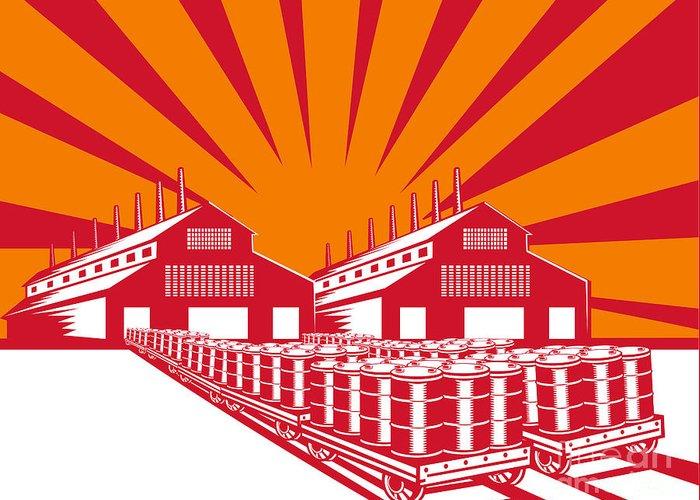 Factory Greeting Card featuring the digital art Factory Building Oil Drum Barrel Retro by Aloysius Patrimonio