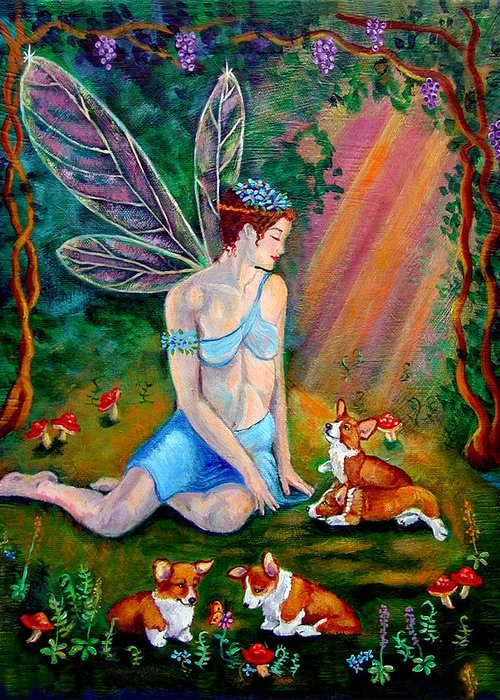 Pembroke Welsh Corgi Greeting Card featuring the painting Fae And Corgi Pups by Lyn Cook