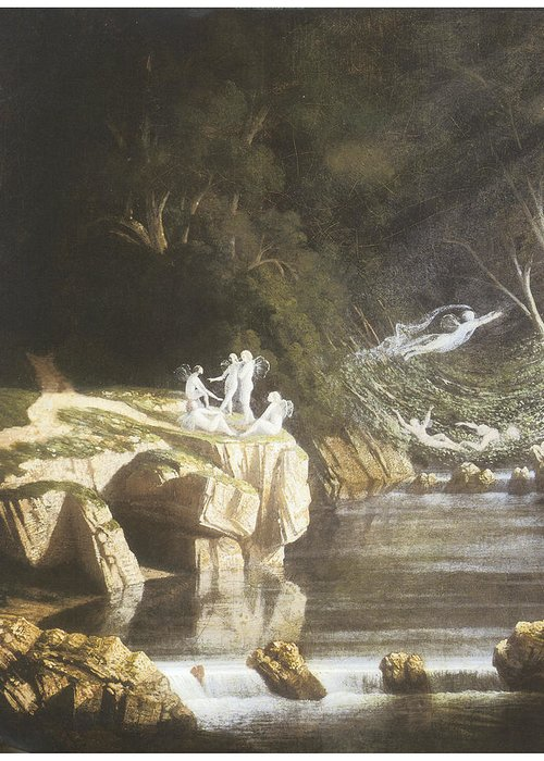 Francis Danby Greeting Card featuring the painting Fairies By A Rocky Stream by Francis Danby