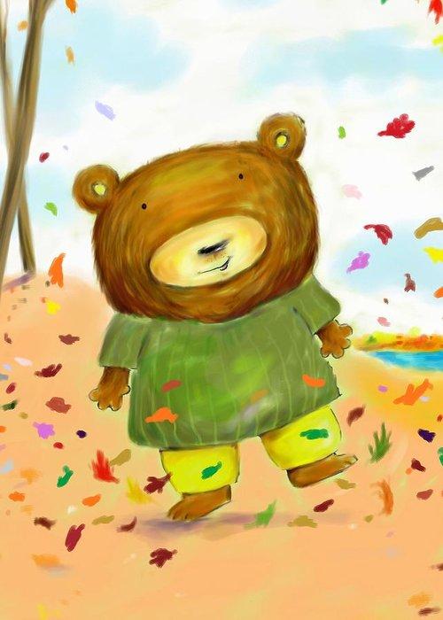 Bear Greeting Card featuring the digital art Fall Bear by Scott Nelson