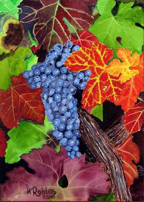 Cabernet Greeting Card featuring the painting Fall Cabernet Sauvignon Grapes by Mike Robles