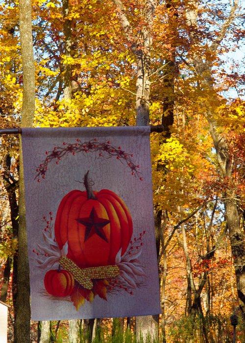 Fall Greeting Card featuring the photograph Fall Flag 1 by Douglas Barnett