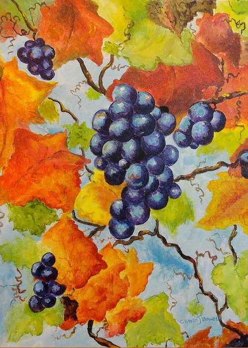 Fruit Greeting Card featuring the painting Fall Grapes by Carole Powell