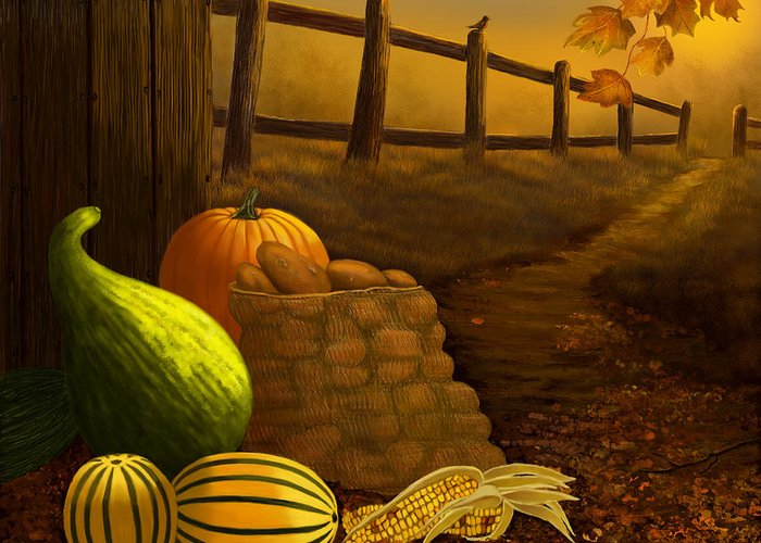Fall Greeting Card featuring the painting Fall Harvest by Sena Wilson