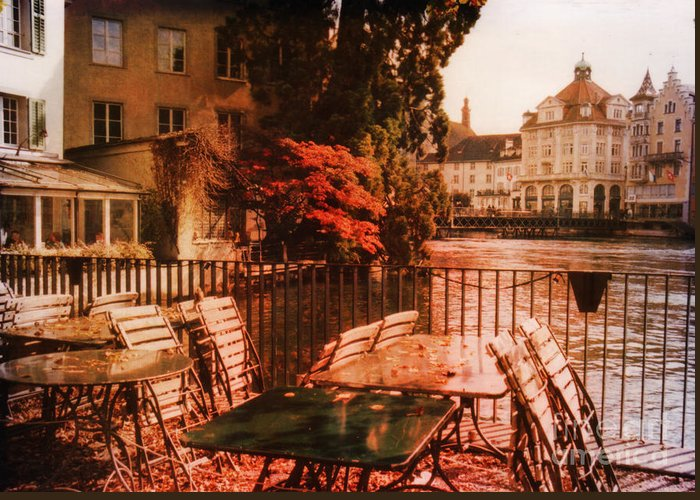 Lucerne Greeting Card featuring the photograph Fall In Lucerne Switzerland by Susanne Van Hulst
