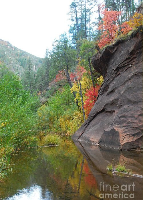 Sedona Greeting Card featuring the photograph Fall Peeks From Behind The Rocks by Heather Kirk