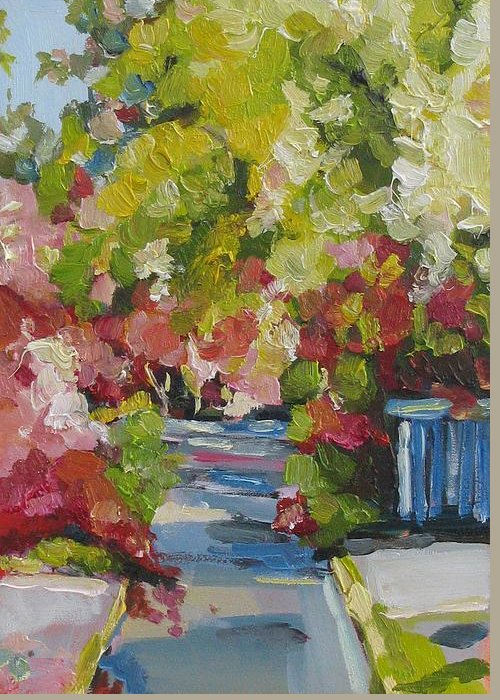 Greeting Card featuring the painting Fallen Blossoms by Coral May Barclay