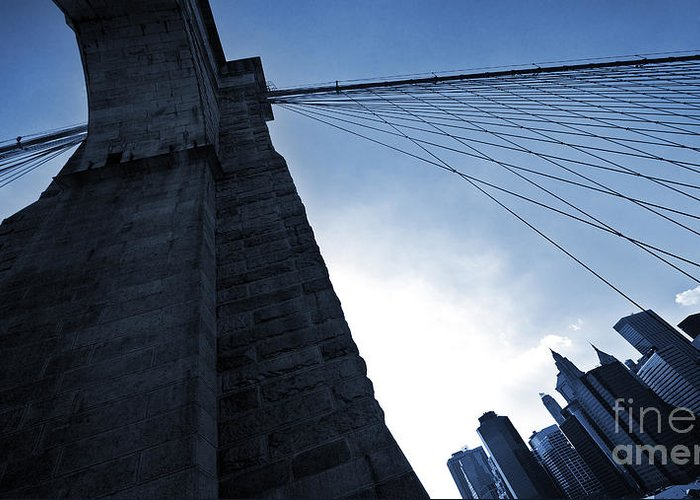 Brooklyn Greeting Card featuring the photograph Falling Lines - Brooklyn Bridge by Thomas Splietker