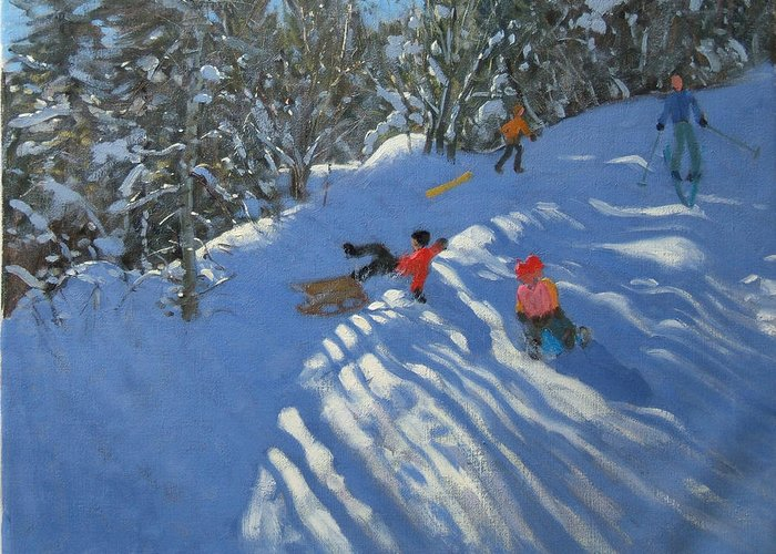 Sled Greeting Card featuring the painting Falling Off The Sledge by Andrew Macara